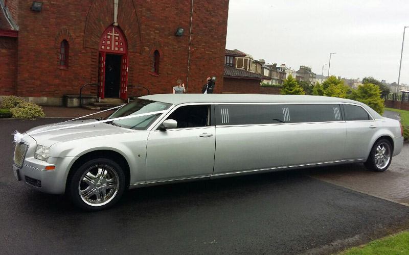 Our stunning silver limousine available throughout ayrshire and glasgow