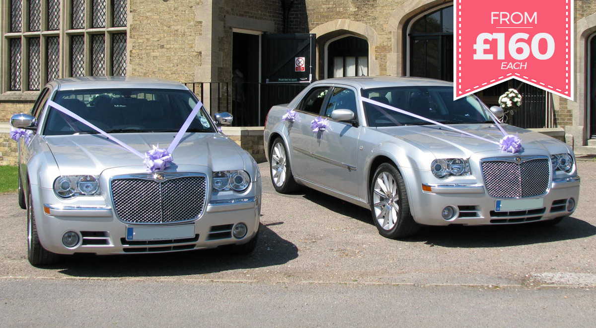 Matching Silver Baby Bentley wedding cars