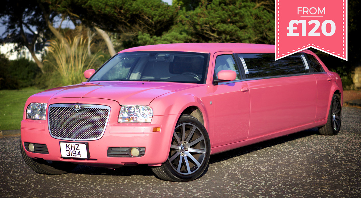 Pink party limousine for hen nights, weddings and all occasions in Ayr, prestwick, Irvine, Glasgow and beyond
