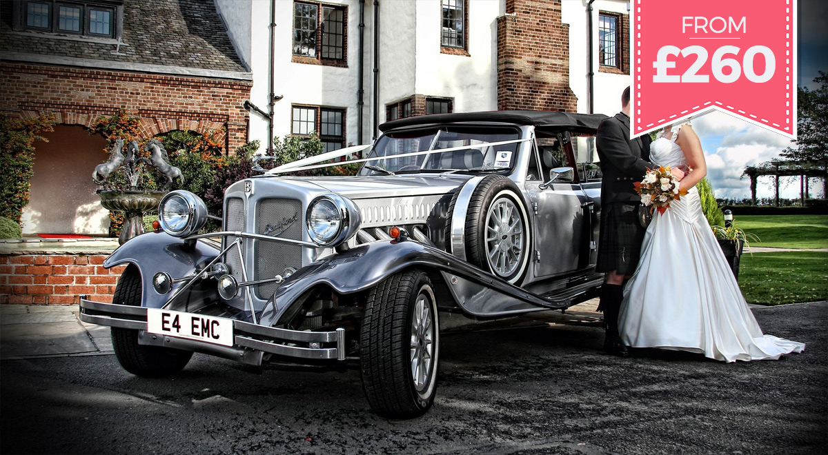 Silver Beauford bridal car for hire in ayrshire and glasgow