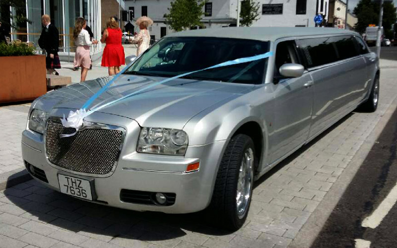 silver limo wedding car hire